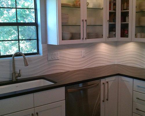 KITCHEN - Backsplash - Porcelanosa Qatar Nacar White Wave Large Panel Tile