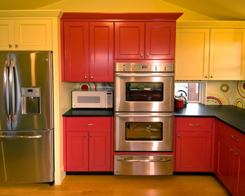 Red And Yellow Kitchen Design Ideas Remodel Pictures Houzz