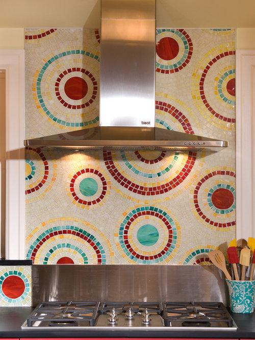 SaveEmail - Multi Colored Backsplash Tile Design Ideas & Remodel Pictures Houzz