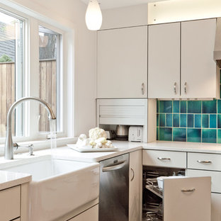 Contemporary kitchen ideas - Example of a trendy l-shaped kitchen design in Denver with a farmhouse sink, flat-panel cabinets, white cabinets and blue backsplash