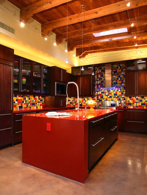 kitchen blue green red yellow glass tile