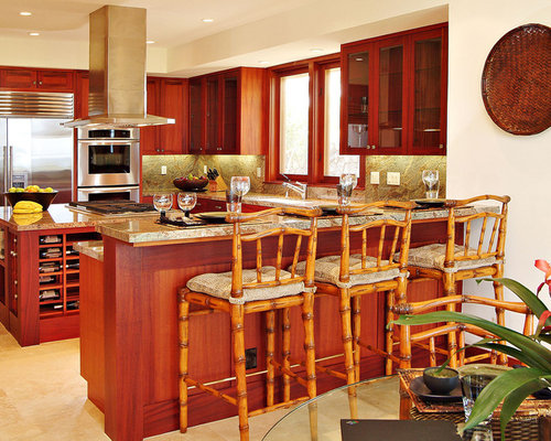 Example Of An Island Style Kitchen Design In Hawaii With Glass Front  Cabinets And Stainless Part 40