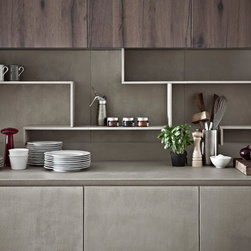 Kitchen Cabinet Finishing in Resin - Contemporary Italian kitchen cabinet in resin by Zampieri Cucine. Resin is hand-applied to create a rustic and yet sleek look. Lots of storage space with custom shelving.