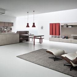 Kitchen Cabinet Finishing in Resin - Contemporary Italian kitchen cabinet in resin by Zampieri Cucine. Resin is hand-applied to create a rustic and yet sleek look.