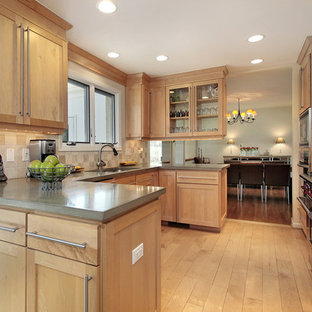 Example of an arts and crafts kitchen design in Boston