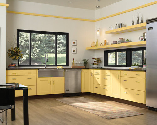Shabby-Chic Style Kitchen with Yellow Cabinets Design Ideas & Remodel Pictures | Houzz