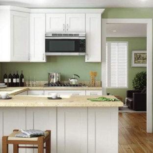 他の地域の中サイズのトランジショナルスタイルのおしゃれなキッチン (アンダーカウンターシンク、シェーカースタイル扉のキャビネット、白いキャビネット、御影石カウンター、シルバーの調理設備の、無垢フローリング、茶色い床、ベージュのキッチンカウンター) の写真