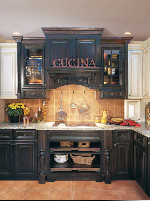Traditional Kitchen Idea In Other With Raised Panel Cabinets, Dark Wood  Cabinets And Brown
