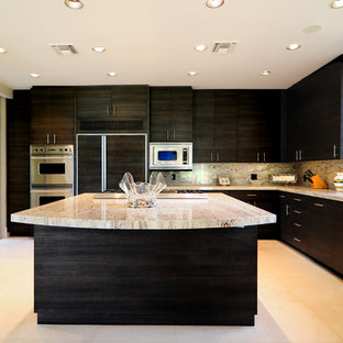 Photo of an expansive modern l-shaped eat-in kitchen in Other with an undermount sink, flat-panel cabinets, black cabinets, solid surface benchtops, multi-coloured splashback, stone slab splashback, stainless steel appliances, ceramic floors and with island.