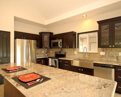 Sage brush granite houzz for Brushed sage kitchen cabinets