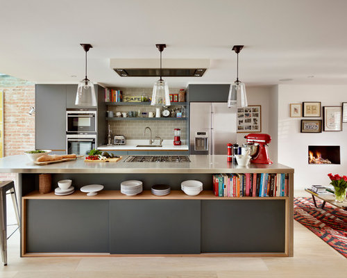 Superb Large Contemporary Galley Open Concept Kitchen Idea In London With An  Island, Flat Panel Awesome Ideas
