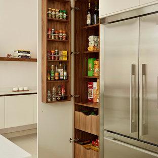 Große Moderne Küche mit flächenbündigen Schrankfronten, weißen Schränken, Küchengeräten aus Edelstahl und Vorratsschrank in London