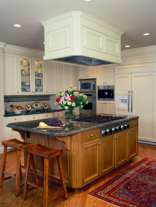 traditional kitchen idea in san francisco with cabinets white cabinets and stainless - Downdraft Range