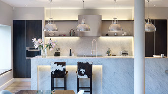 Kitchen Carrara or Bianco Forte Honed marble with legs to floor