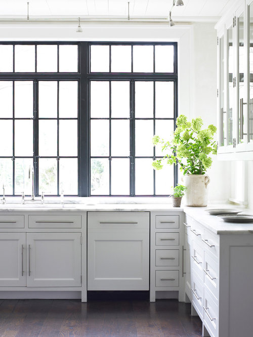 example of a transitional kitchen design in atlanta with recessed panel cabinets and white cabinets - Window Frames