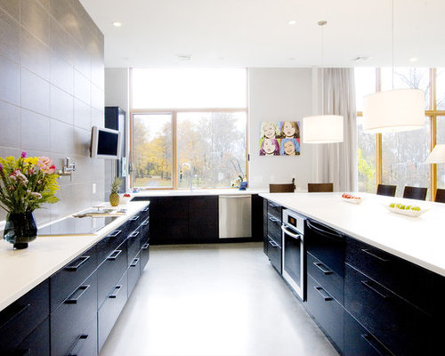Dark lower cabinets cream upper houzz for Kitchen ideas no upper cabinets