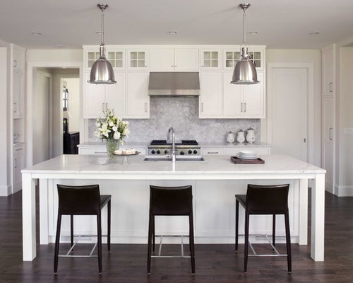 Traditional Dark Wood Floor Kitchen Idea In Minneapolis With Marble Countertops White Cabinets Stone