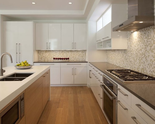 Example Of A Trendy Kitchen Design In Minneapolis With A Double Bowl Sink,  Solid