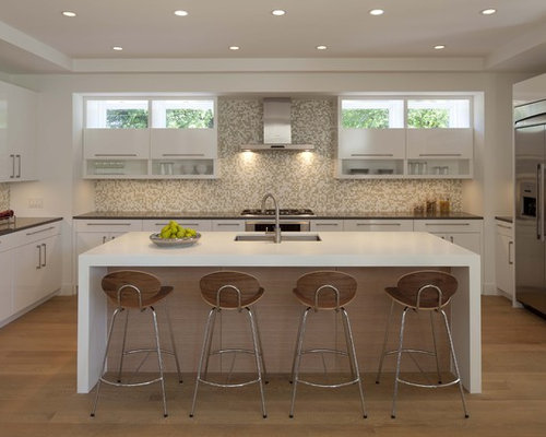 Contemporary Kitchen Idea In Minneapolis With Solid Surface Countertops, A  Single Bowl Sink,