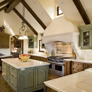 Inspiration for a mediterranean kitchen remodel in Other with an undermount sink, raised-panel cabinets, green cabinets, multicolored backsplash and paneled appliances