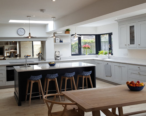 Kitchen Design Ideas Renovations Photos With Integrated Appliances And Mirror Splashback
