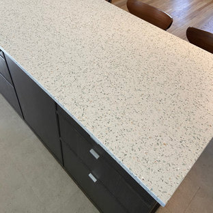 Kitchen countertops featuring Curava recycled glass surfaces in Savaii
