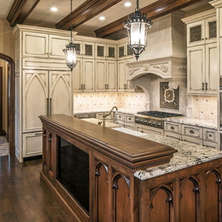 traditional kitchen pictures inspiration for a timeless l shaped dark wood floor and brown - Beige Kitchen Cabinets