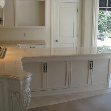 Kitchen: Crema Marfil marble