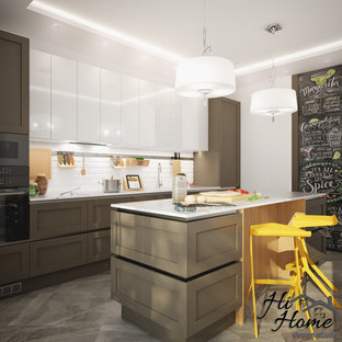 This is an example of a mid-sized contemporary single-wall kitchen in Other with an integrated sink, recessed-panel cabinets, brown cabinets, quartz benchtops, white splashback, subway tile splashback, black appliances, marble floors, with island, grey floor and yellow benchtop.