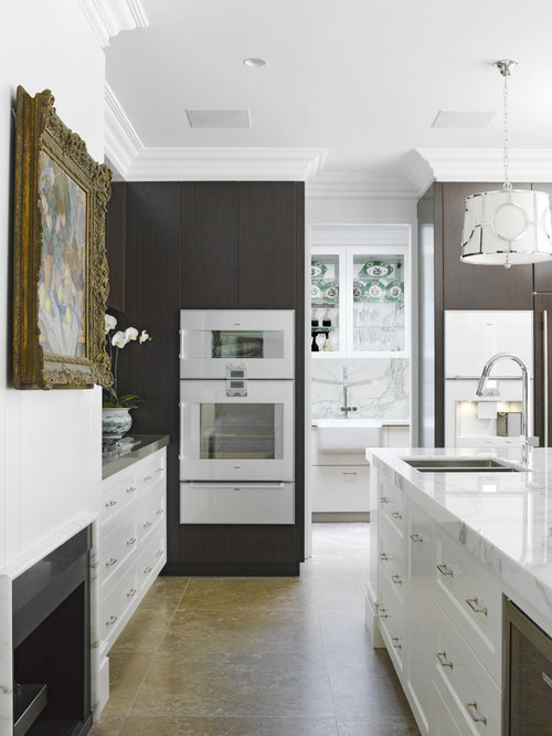 kitchen design ideas with white appliances. Large traditional kitchen appliance  Inspiration for a large timeless l shaped travertine floor 50 Best Travertine Floor Kitchen with White Appliances Ideas Houzz