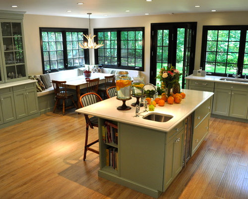 Traditional Kitchen Idea In New York With Glass Front Cabinets