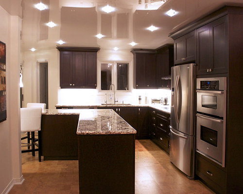 Kitchen design ideas renovations photos with dark wood cabinets and cork flooring Kitchen design cork city
