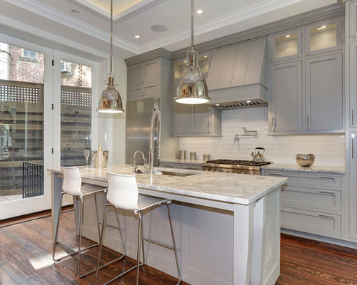 Grey cabinets white countertops houzz for Gray kitchen cabinets with black counter