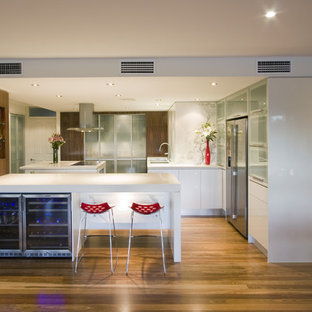 Trendy kitchen photo in Brisbane with stainless steel appliances, glass-front cabinets and white cabinets