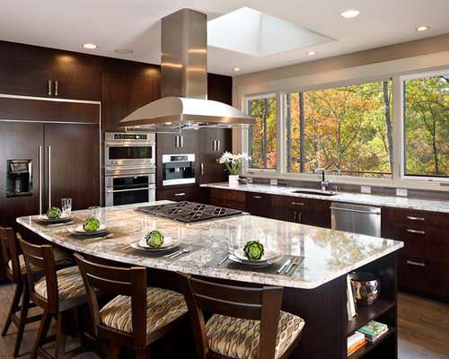 Contemporary L Shaped Kitchen Idea In Other With Granite Countertops,  Flat Panel Cabinets