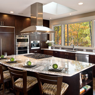 Kitchen - contemporary l-shaped kitchen idea in Other with granite countertops, flat-panel cabinets, dark wood cabinets, gray backsplash and stainless steel appliances