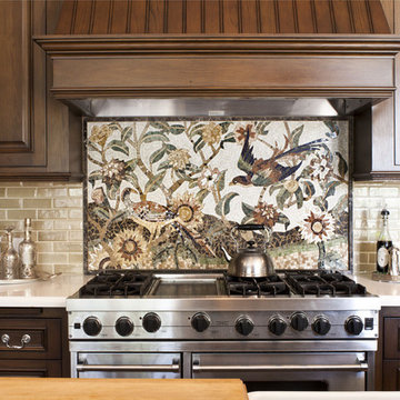Kitchen detail of custom mosaic tile