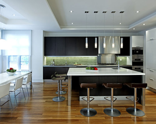 Large Contemporary Single Wall Dark Wood Floor Eat In Kitchen Idea Toronto With