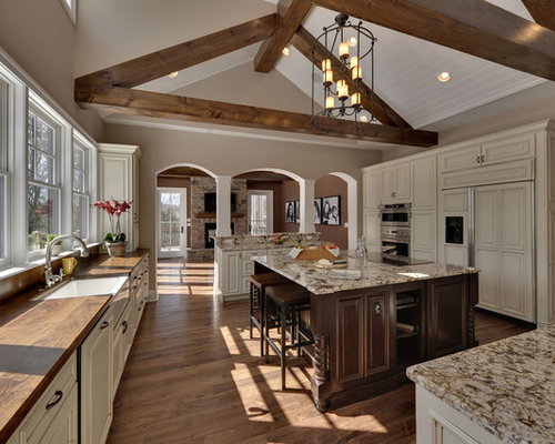 Ice brown granite houzz for Half vaulted ceiling with beams
