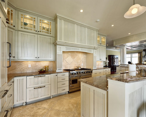 Cream cabinets houzz - Black granite countertops with cream cabinets ...