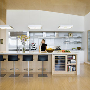 Open concept kitchen - contemporary u-shaped open concept kitchen idea in Boston with stainless steel appliances, open cabinets, white backsplash and glass sheet backsplash