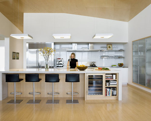Contemporary u-shaped open concept kitchen idea in Boston with stainless  steel appliances, open