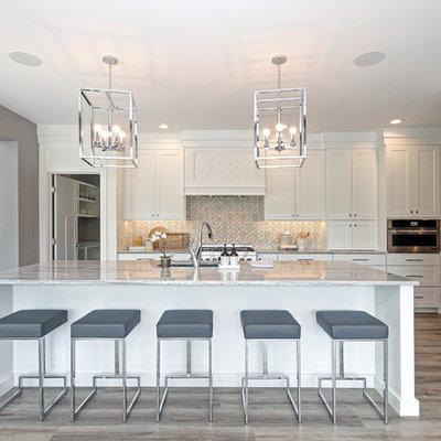 Inspiration for a transitional light wood floor kitchen remodel in Grand Rapids with an undermount sink, shaker cabinets, white cabinets, gray backsplash, stainless steel appliances, an island and gray countertops