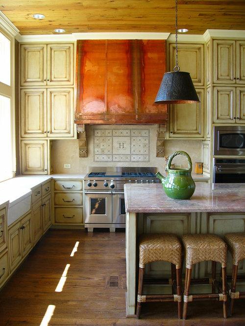 Elegant kitchen photo in Birmingham with stainless steel appliances, a  farmhouse sink, raised- - Kitchen Cabinet Antiquing Houzz