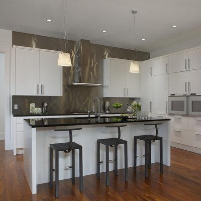 Kitchen - contemporary galley kitchen idea in Detroit with metallic backsplash, metal backsplash, white cabinets, flat-panel cabinets and an undermount sink