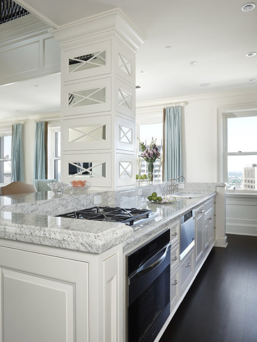 Transitional Kitchen Idea In Detroit With Raised Panel Cabinets, Granite  Countertops And Stainless Steel