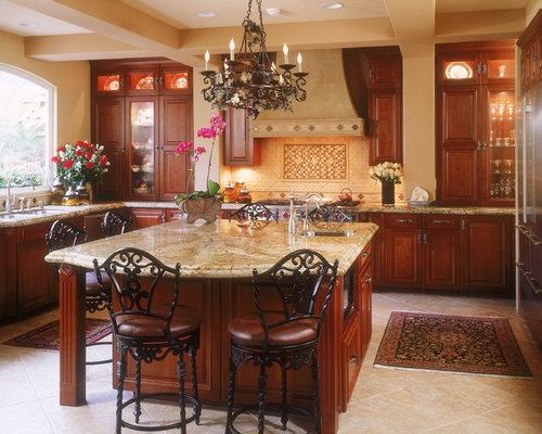 mid sized traditional open concept kitchen pictures mid sized elegant u shaped - Porcelain Kitchen Floor
