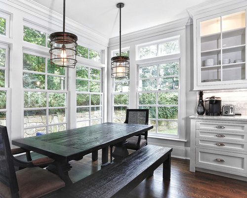 Elegant Eat In Kitchen Photo New York With Glass Front Cabinets White