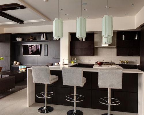 Elegant Trendy Open Concept Kitchen Photo In Orlando With An Undermount Sink,  Flat Panel Cabinets