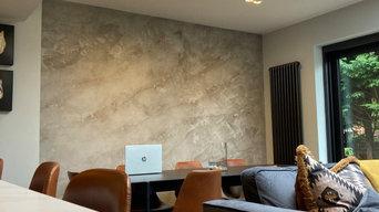 Kitchen Feature Wall In Decorative Venetian Plaster / grey & bronze tones.